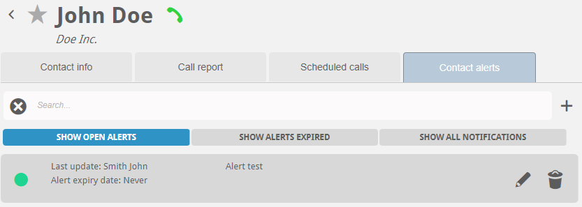 Alerts for contact