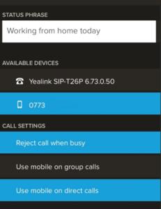 Settings on App